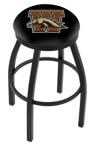 Western Michigan Broncos Black Swivel Bar Stool with Accent Ring