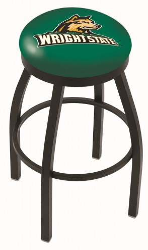 Wright State Raiders Black Swivel Bar Stool with Accent Ring