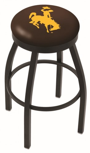 Wyoming Cowboys Black Swivel Bar Stool with Accent Ring