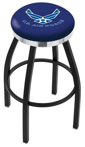 Air Force Falcons Black Swivel Barstool with Chrome Accent Ring