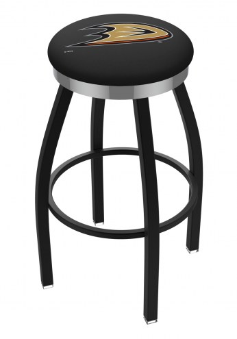 Anaheim Ducks Black Swivel Barstool with Chrome Accent Ring