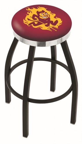 Arizona State Sun Devils Black Swivel Barstool with Chrome Accent Ring