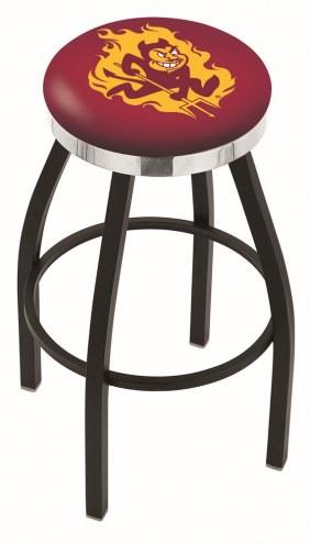 Arizona State Sun Devils Black Swivel Barstool with Chrome Accent Ring
