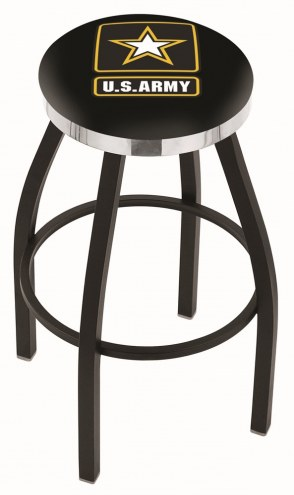U.S. Army Black Knights Black Swivel Barstool with Chrome Accent Ring
