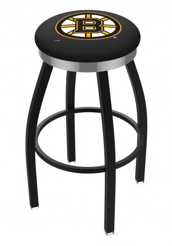Boston Bruins Black Swivel Barstool with Chrome Accent Ring