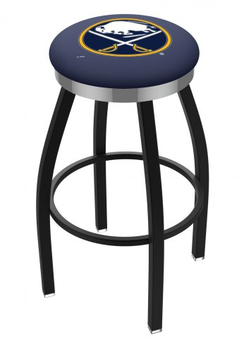 Buffalo Sabres Black Swivel Barstool with Chrome Accent Ring