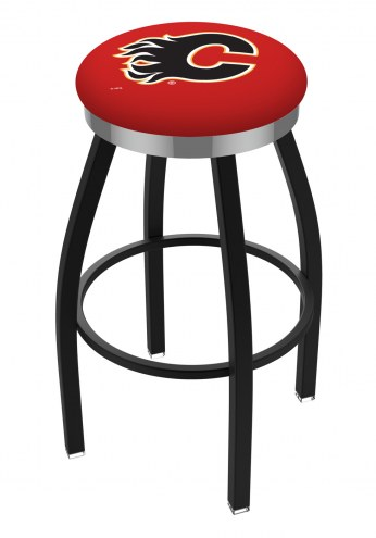 Calgary Flames Black Swivel Barstool with Chrome Accent Ring