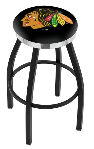 Chicago Blackhawks Black Swivel Barstool with Chrome Accent Ring