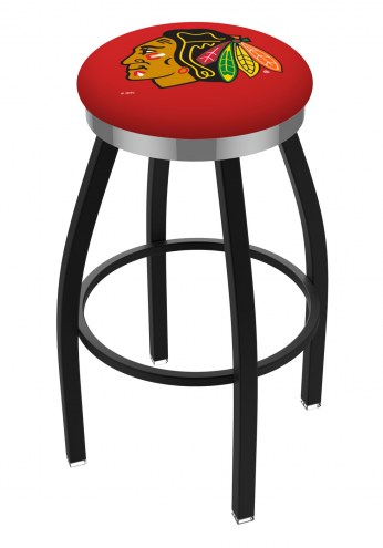 Chicago Blackhawks NHL Black Swivel Barstool with Chrome Accent Ring