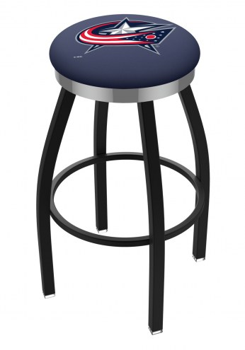 Columbus Blue Jackets Black Swivel Barstool with Chrome Accent Ring