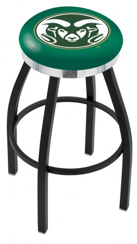 Colorado State Rams Black Swivel Barstool with Chrome Accent Ring