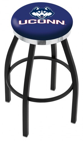 Connecticut Huskies Black Swivel Barstool with Chrome Accent Ring