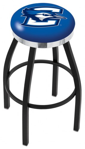 Creighton Bluejays Black Swivel Barstool with Chrome Accent Ring