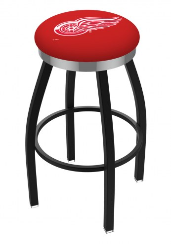 Detroit Red Wings Black Swivel Barstool with Chrome Accent Ring