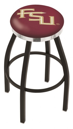 Florida State Seminoles Black Swivel Barstool with Chrome Accent Ring