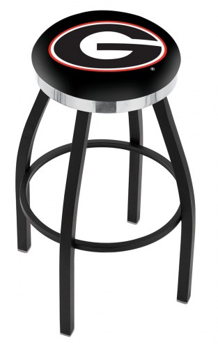 Georgia Bulldogs Black Swivel Barstool with Chrome Accent Ring