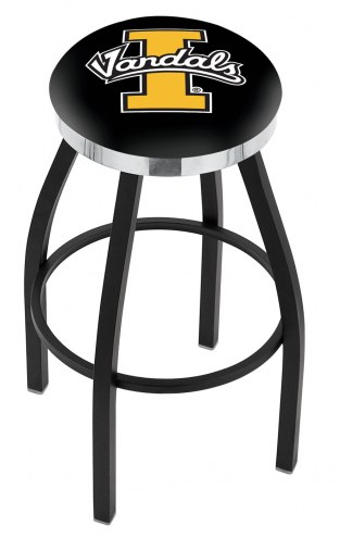 Idaho Vandals Black Swivel Barstool with Chrome Accent Ring