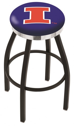 Illinois Fighting Illini Black Swivel Barstool with Chrome Accent Ring