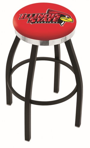 Illinois State Redbirds Black Swivel Barstool with Chrome Accent Ring