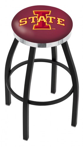 Iowa State Cyclones Black Swivel Barstool with Chrome Accent Ring