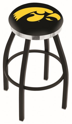 Iowa Hawkeyes Black Swivel Barstool with Chrome Accent Ring