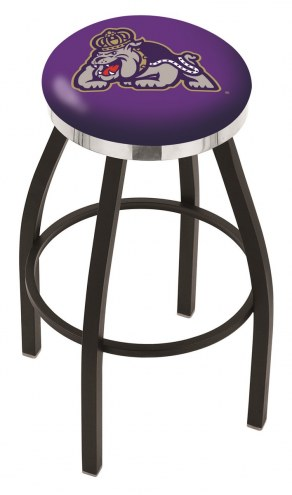 James Madison Dukes Black Swivel Barstool with Chrome Accent Ring