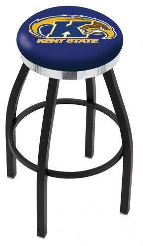 Kent State Golden Flashes Black Swivel Barstool with Chrome Accent Ring
