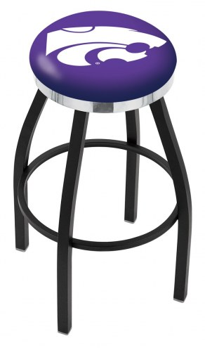 Kansas State Wildcats Black Swivel Barstool with Chrome Accent Ring