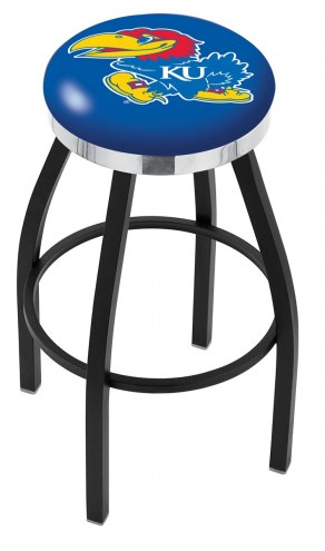 Kansas Jayhawks Black Swivel Barstool with Chrome Accent Ring