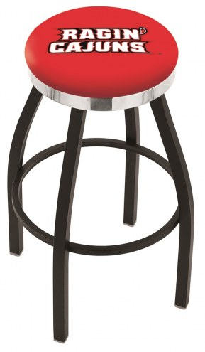 Louisiana Lafayette Ragin' Cajuns Black Swivel Barstool with Chrome Accent Ring