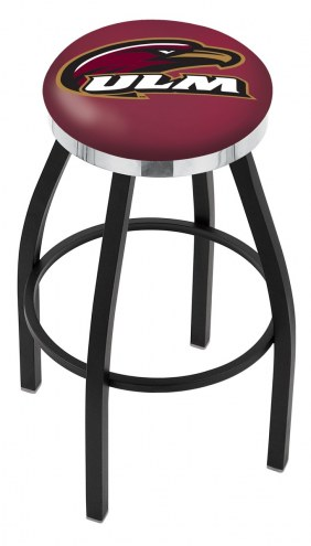 Louisiana-Monroe Warhawks Black Swivel Barstool with Chrome Accent Ring