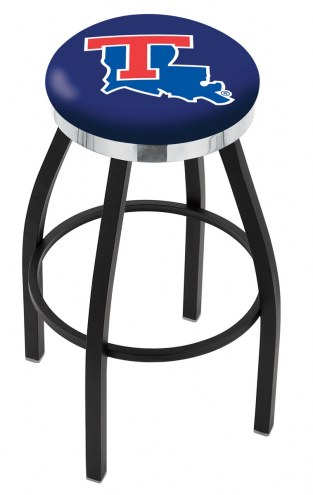 Louisiana Tech Bulldogs Black Swivel Barstool with Chrome Accent Ring