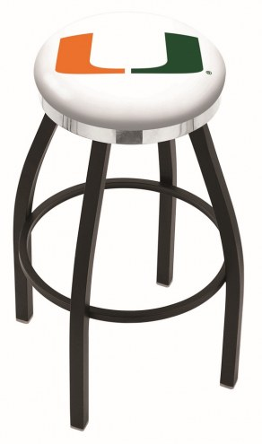 Miami Hurricanes Black Swivel Barstool with Chrome Accent Ring