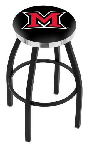 Miami of Ohio RedHawks Black Swivel Barstool with Chrome Accent Ring