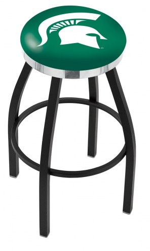Michigan State Spartans Black Swivel Barstool with Chrome Accent Ring
