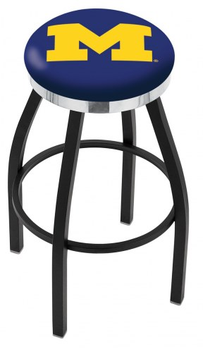 Michigan Wolverines Black Swivel Barstool with Chrome Accent Ring