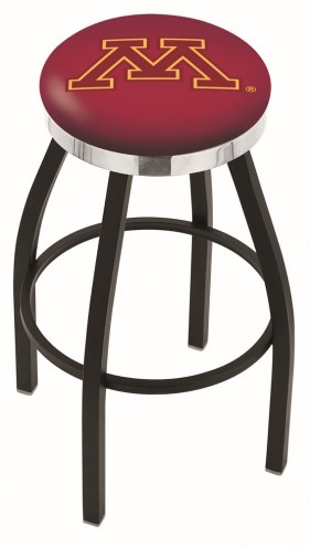 Minnesota Golden Gophers Black Swivel Barstool with Chrome Accent Ring