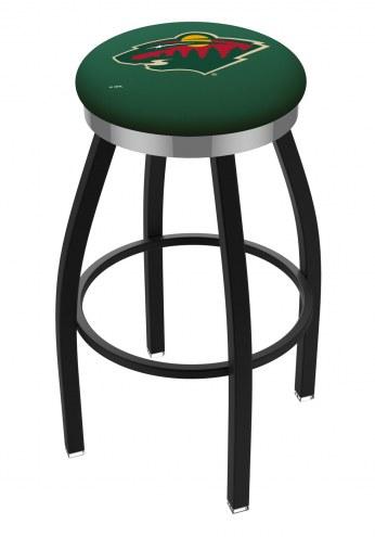 Minnesota Wild Black Swivel Barstool with Chrome Accent Ring