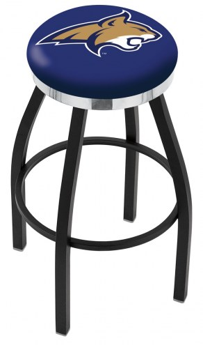 Montana State Bobcats Black Swivel Barstool with Chrome Accent Ring