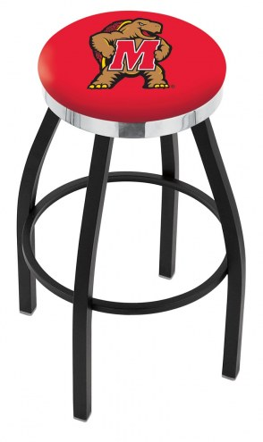 Maryland Terrapins Black Swivel Barstool with Chrome Accent Ring