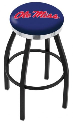 Mississippi Rebels Black Swivel Barstool with Chrome Accent Ring