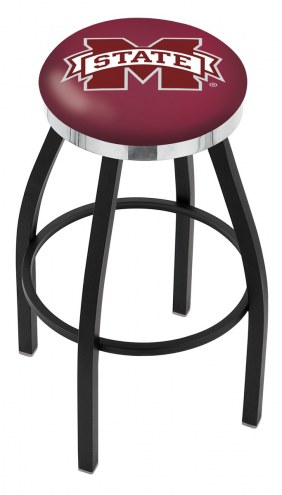 Mississippi State Bulldogs Black Swivel Barstool with Chrome Accent Ring