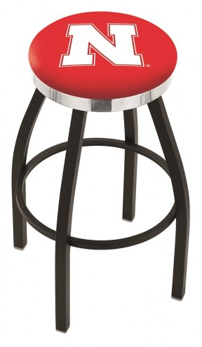 Nebraska Cornhuskers Black Swivel Barstool with Chrome Accent Ring