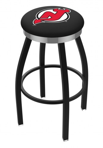 New Jersey Devils Black Swivel Barstool with Chrome Accent Ring