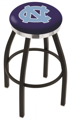 North Carolina Tar Heels Black Swivel Barstool with Chrome Accent Ring