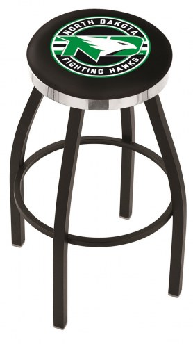 University of North Dakota Black Swivel Barstool with Chrome Accent Ring
