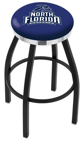 North Florida Ospreys Black Swivel Barstool with Chrome Accent Ring
