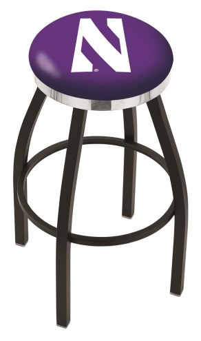 Northwestern Wildcats Black Swivel Barstool with Chrome Accent Ring