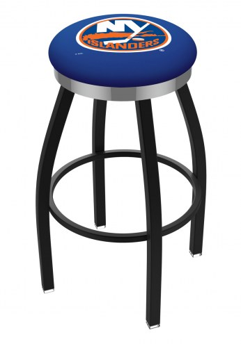 New York Islanders Black Swivel Barstool with Chrome Accent Ring
