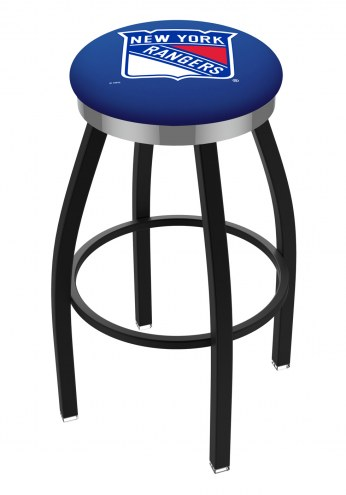 New York Rangers Black Swivel Barstool with Chrome Accent Ring